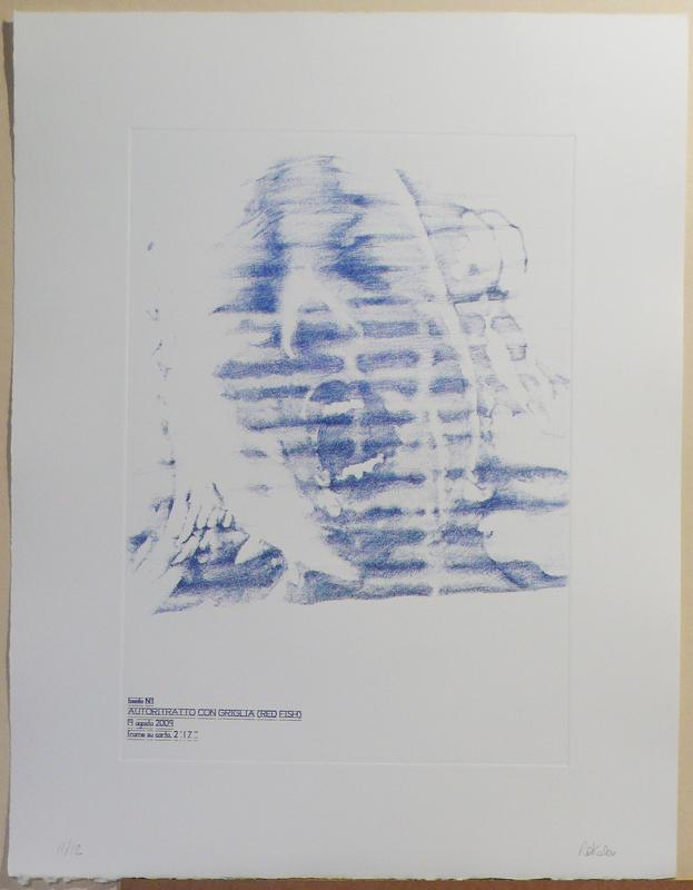 """Rakele Tombini """"Autoritratto con griglia ( red fish)"""" 2010"""